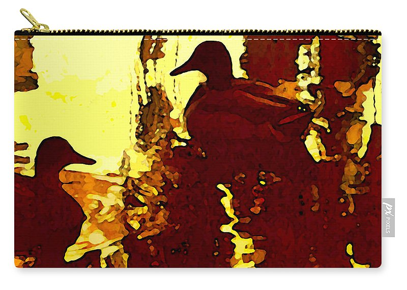 Landscape Carry-all Pouch featuring the painting Ducks On Red Lake 3 by Amy Vangsgard