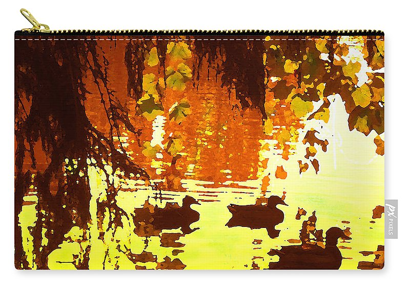 Carry-all Pouch featuring the painting Ducks On Red Lake by Amy Vangsgard