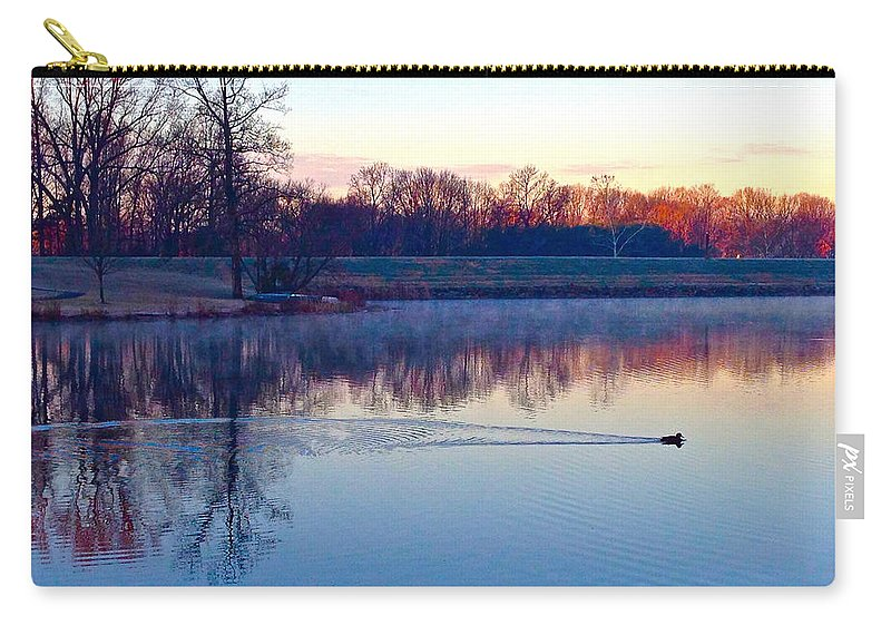 Duck Carry-all Pouch featuring the photograph Duck's Sunrise by Lexi Heft