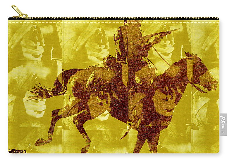 Clint Eastwood Carry-all Pouch featuring the digital art Duel In The Saddle 1 by Seth Weaver