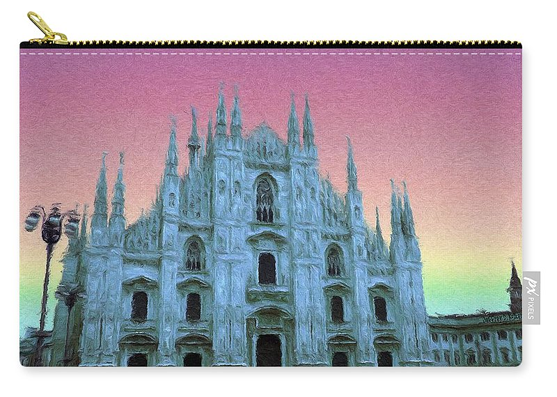 Catholic Carry-all Pouch featuring the painting Duomo Di Milano by Jeffrey Kolker