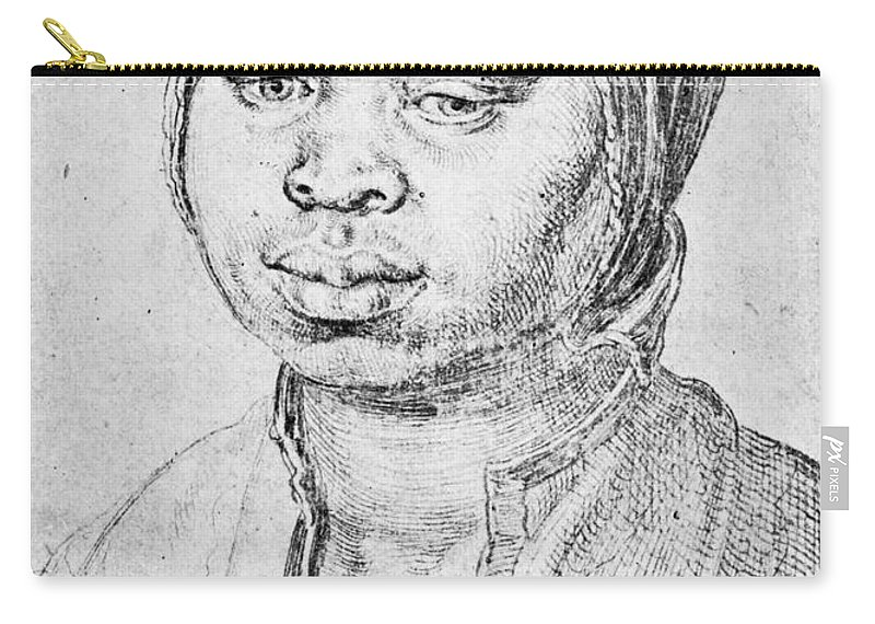 1521 Carry-all Pouch featuring the drawing Durer Slave Woman, 1521 by Granger