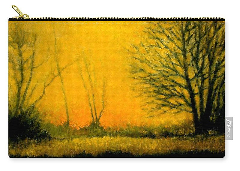 Landscape Carry-all Pouch featuring the painting Dusk At The Refuge by Jim Gola