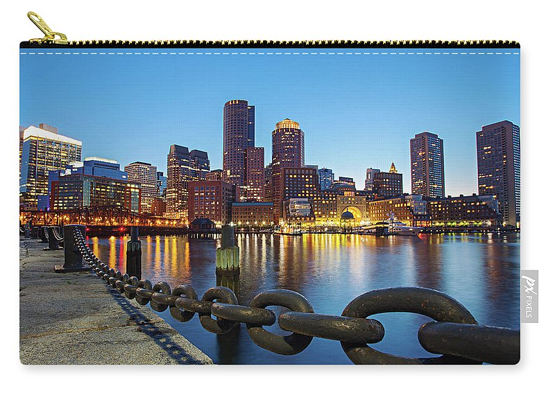 Clear Sky Carry-all Pouch featuring the photograph Dusk In Boston by Photography By Nick Burwell