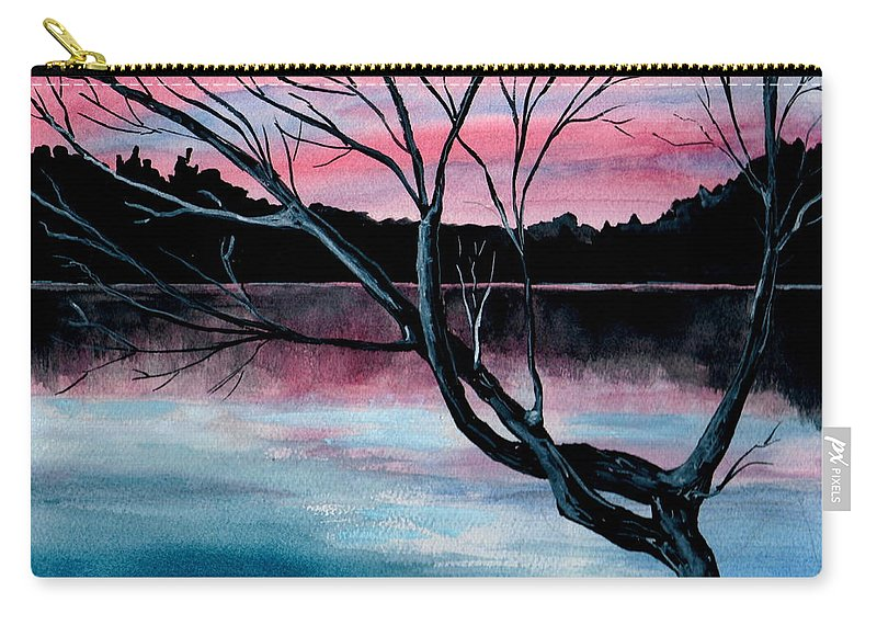 Landscape Carry-all Pouch featuring the painting Dusk Lake Arrowhead Maine by Brenda Owen