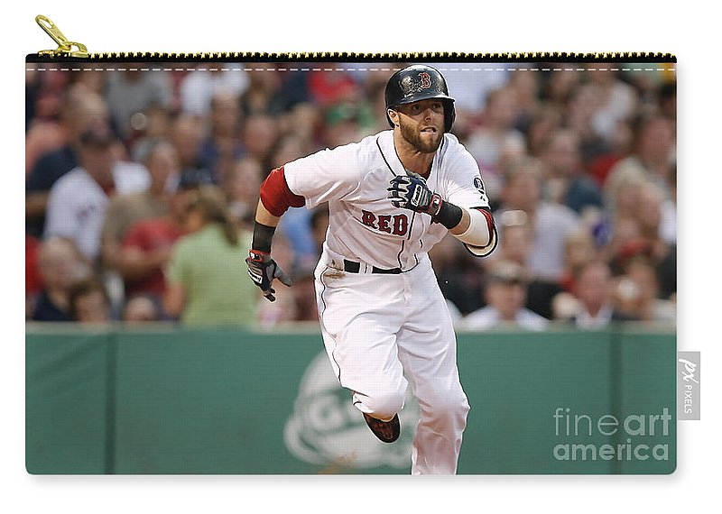 Home Art Carry-all Pouch featuring the mixed media Dustin Pedroia by Marvin Blaine