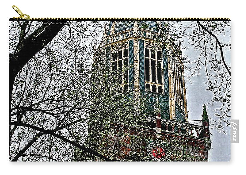 Dutch Reformed Church Tower In Enkhuizen Carry-all Pouch featuring the photograph Dutch Reformed Church Tower In Enkhuizen-netherlands by Ruth Hager