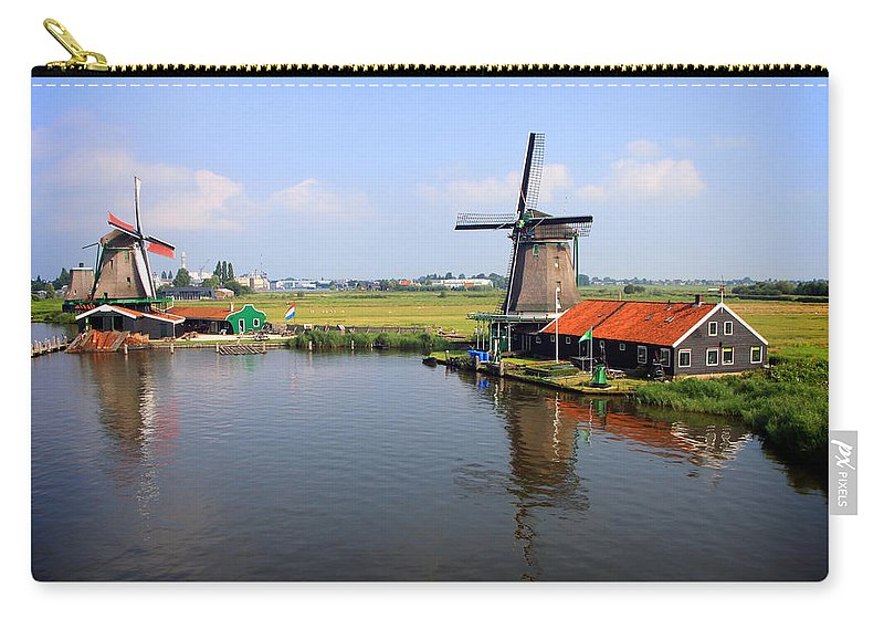 Windmill Carry-all Pouch featuring the photograph Dutch Windmills by Nancy Ingersoll