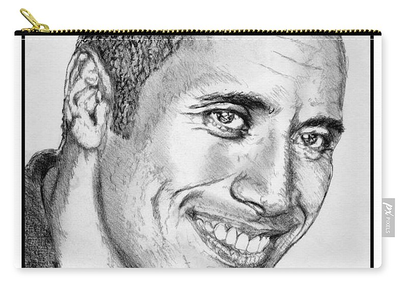 Mccombie Carry-all Pouch featuring the drawing Dwayne Johnson In 2007 by J McCombie