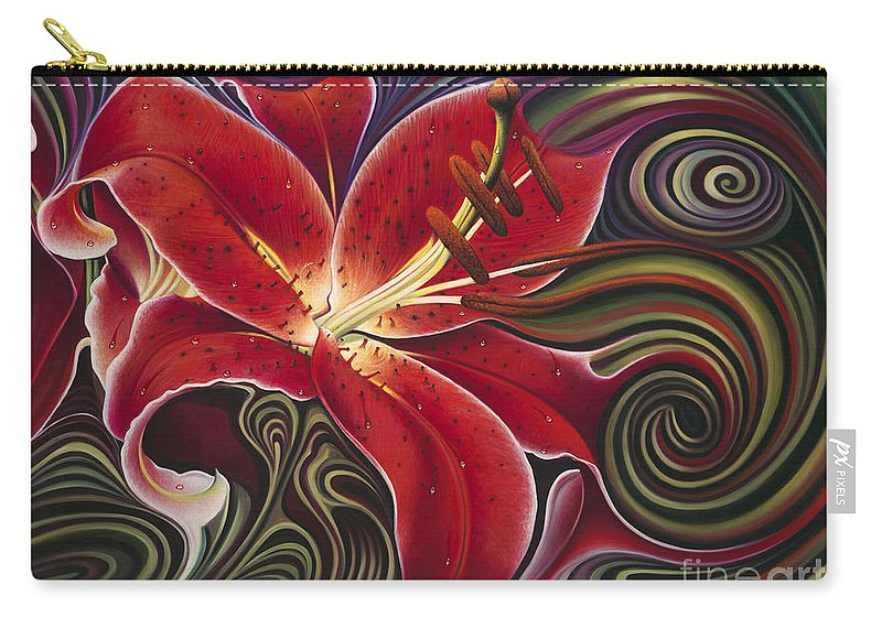 Lily Carry-all Pouch featuring the painting Dynamic Reds by Ricardo Chavez-Mendez
