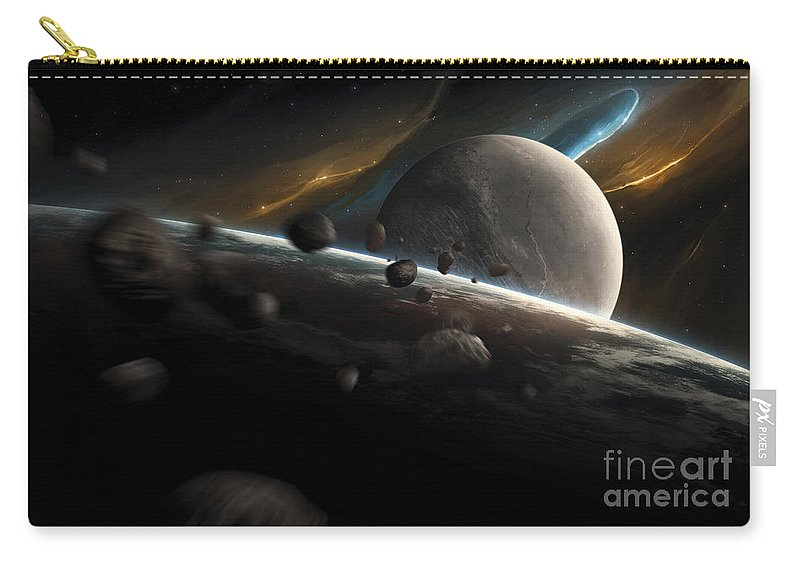 Horizontal Carry-all Pouch featuring the digital art Dynamic Space Scene With Incoming by Tobias Roetsch