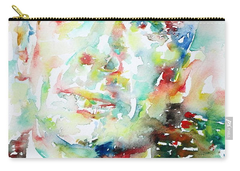 Cummings Carry-all Pouch featuring the painting E. E. Cummings - Watercolor Portrait by Fabrizio Cassetta