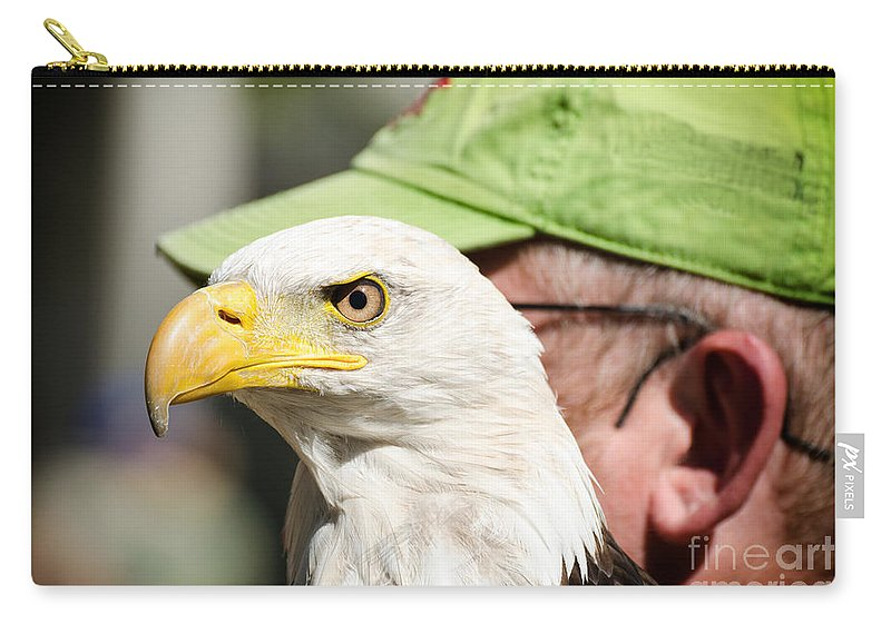 Bald Carry-all Pouch featuring the photograph Eagle And His Man by Les Palenik
