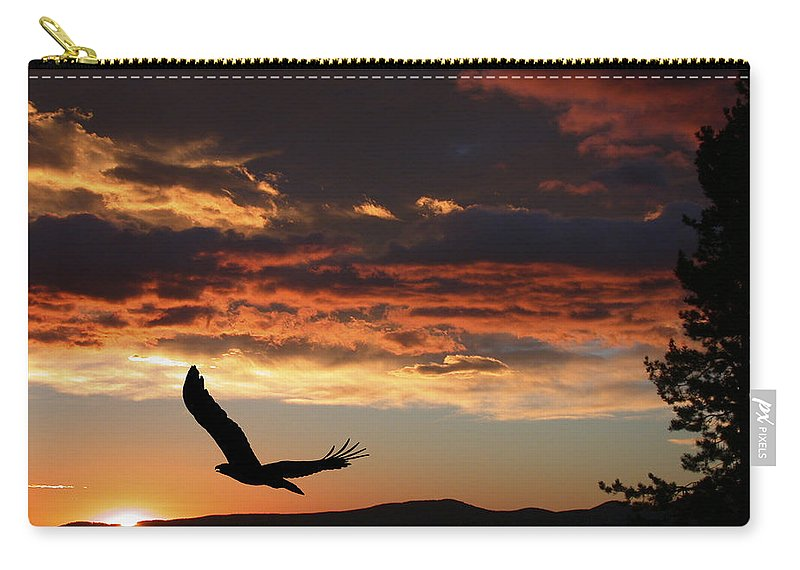 Bald Eagle Carry-all Pouch featuring the photograph Eagle At Sunset by Shane Bechler