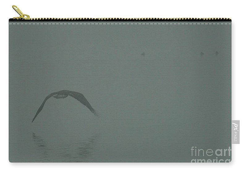 Eagle Carry-all Pouch featuring the photograph Eagle Into The Mist by Rod Wiens