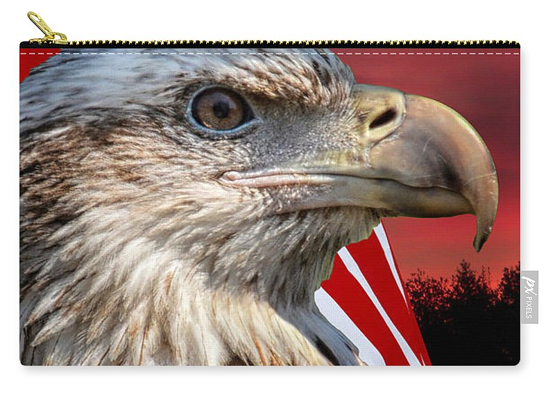 Eagle Carry-all Pouch featuring the photograph Eagle With Pledge Allegiance by Thomas Woolworth