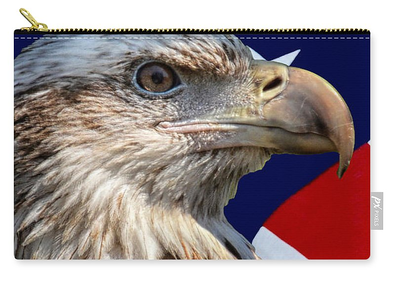 Eagle Carry-all Pouch featuring the photograph Eagle With Us American Flag by Thomas Woolworth
