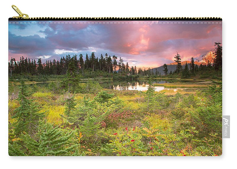 Sunset Carry-all Pouch featuring the photograph Early Autumn Meadow Sunset At Mt Baker by Eti Reid