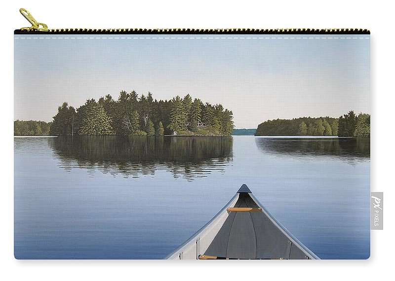 Canoe Carry-all Pouch featuring the painting Early Evening Paddle Aka Paddle Muskoka by Kenneth M Kirsch