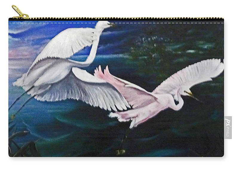 Snowy Egrets Carry-all Pouch featuring the painting Early Flight by Karin Dawn Kelshall- Best