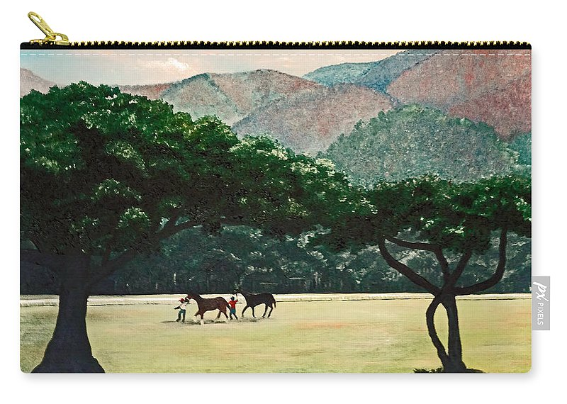 Trees Carry-all Pouch featuring the painting Early Morning Savannah by Karin Dawn Kelshall- Best