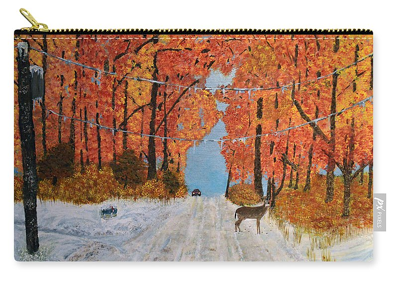 Snow Carry-all Pouch featuring the painting Early Snow by Ken Figurski
