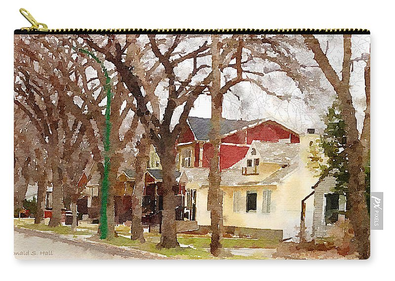 Suburban Scene Carry-all Pouch featuring the photograph Early Spring Street by Donald S Hall
