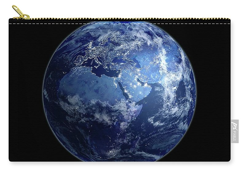 Globe Carry-all Pouch featuring the digital art Earth At Night, Artwork by Science Photo Library - Andrzej Wojcicki