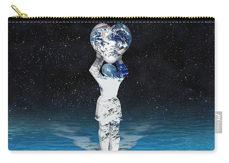Surreal Carry-all Pouch featuring the digital art Earth Heart Holder by Gravityx9 Designs