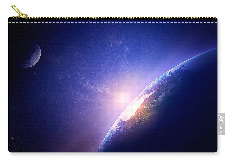 Earth Carry-all Pouch featuring the photograph Earth Sunrise In Foggy Space by Johan Swanepoel
