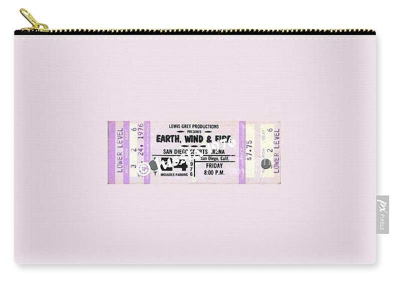 Earth Carry-all Pouch featuring the photograph Earth Wind Fire San Diego Sports Arena Ticket September 24 1976 by Jussta Jussta