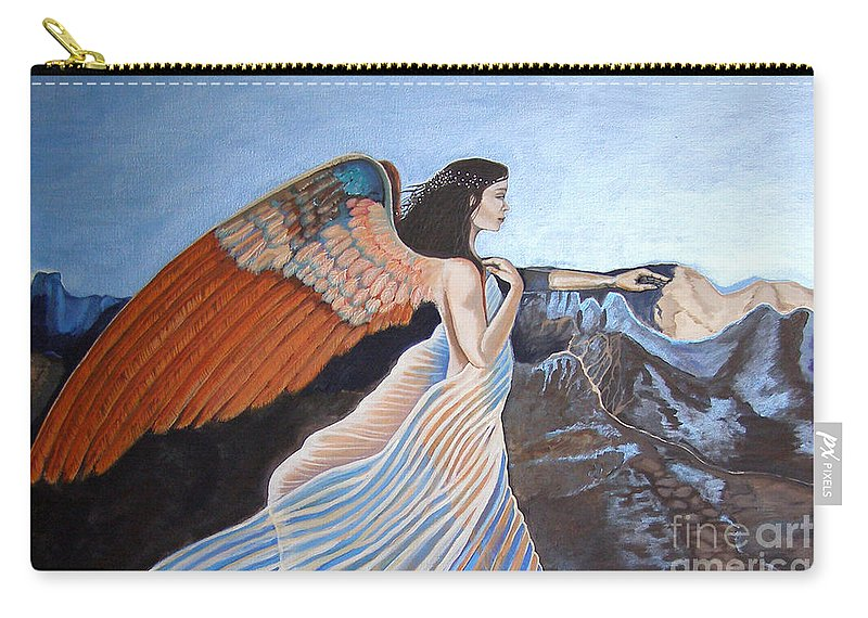 Angel Carry-all Pouch featuring the painting Earthbound Vers 1 by Dia T