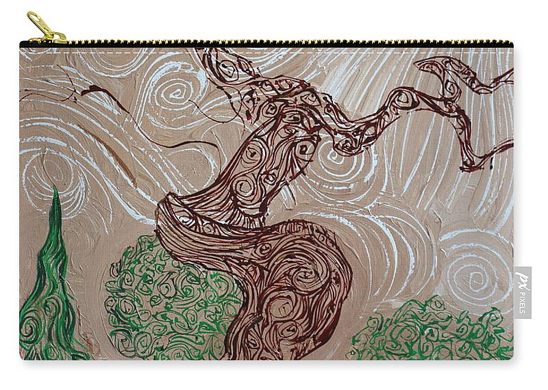 Landscape. Impressionism Carry-all Pouch featuring the painting Earthen Tree by Stefan Duncan