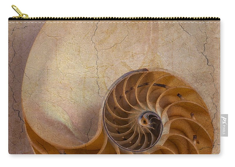Earthy Carry-all Pouch featuring the photograph Earthy Nautilus Shell by Garry Gay