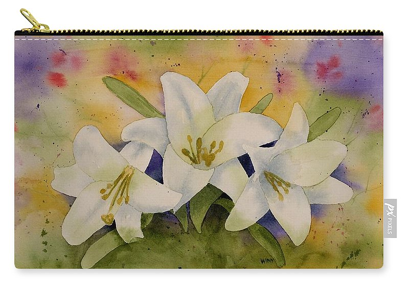 Watercolor Carry-all Pouch featuring the painting Easter Lilies by Brett Winn