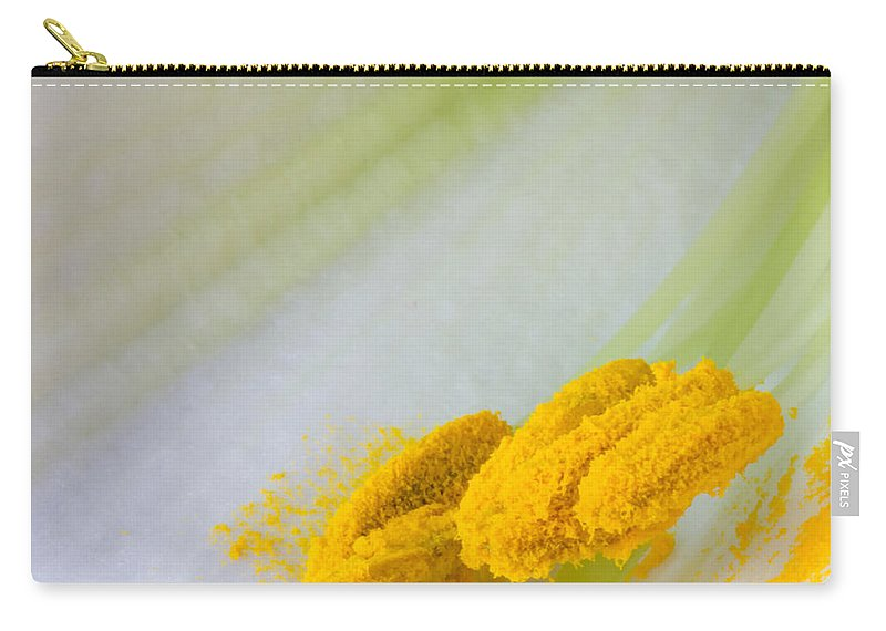 Yellow Carry-all Pouch featuring the photograph Easter Lily Macro by Heidi Smith