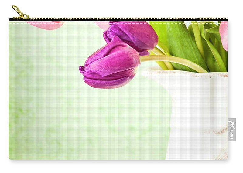 Mother's Day Carry-all Pouch featuring the photograph Easter Tulips And Copy Space by Catlane