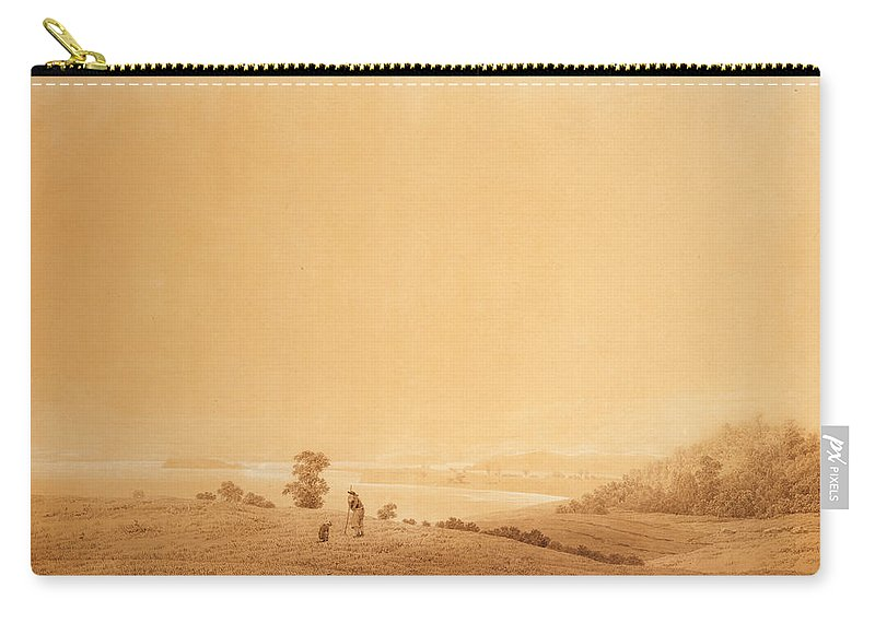 Caspar David Friedrich Carry-all Pouch featuring the drawing Eastern Coast Of Ruegen Island With Shepherd by Caspar David Friedrich