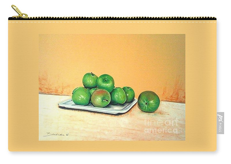 Apples Carry-all Pouch featuring the pastel Eat Green by Katharina Filus