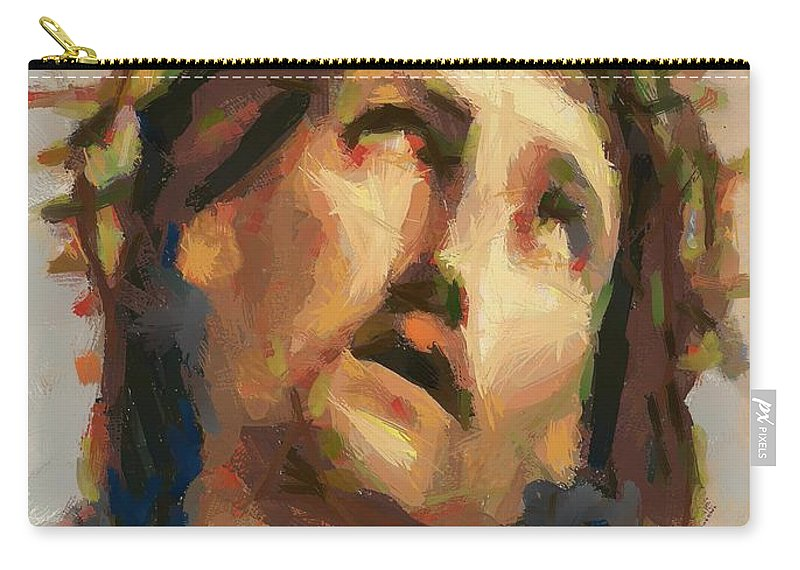 Portrait Carry-all Pouch featuring the painting Ecce Homo by Dragica Micki Fortuna
