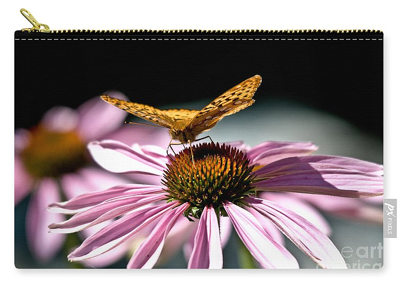 Butterfly Carry-all Pouch featuring the photograph Echinacea And Friend by Cheryl Baxter