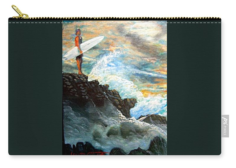 Eddie Aikau World Famous Surfer At Waimea Bay Carry-all Pouch featuring the painting Eddie Aikau by Leland Castro