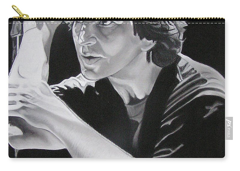 Eddie Vedder Carry-all Pouch featuring the drawing Eddie Vedder Black And White by Joshua Morton