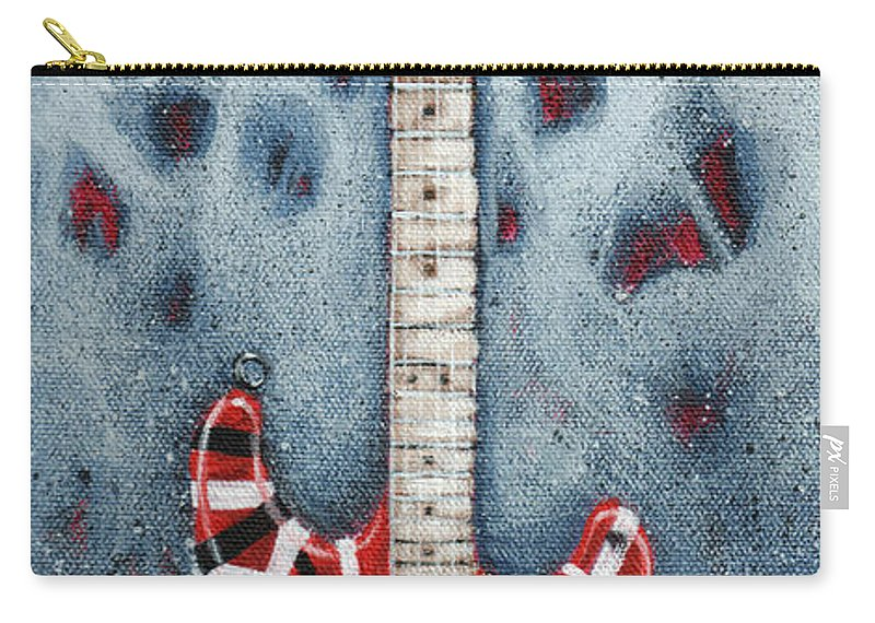 Guitar Carry-all Pouch featuring the painting Eddie's Frankenstrat by Arturo Vilmenay