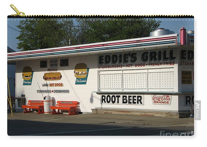 Eddie's Grill Carry-all Pouch featuring the photograph Eddie's Grill by Michael Krek