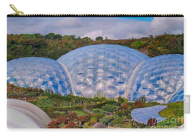 Cornwall Canvas Carry-all Pouch featuring the photograph Eden Project Biomes by Chris Thaxter