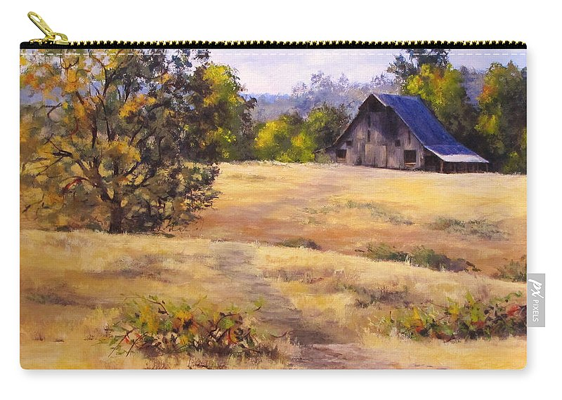 Landscape Carry-all Pouch featuring the painting Edge of Autumn by Karen Ilari