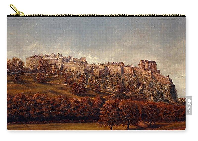 Edinburgh Carry-all Pouch featuring the painting Edinburgh Castle by Miroslav Stojkovic - Miro