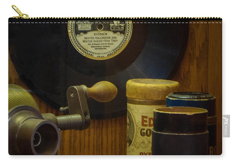Thomas Edison Depot Museum Carry-all Pouch featuring the photograph Edison Record And Equipment by Grace Grogan
