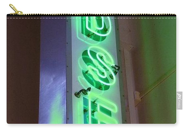 Edsel Sign Carry-all Pouch featuring the photograph Edsel Sign Aglow by Barbie Corbett-Newmin